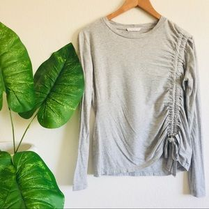 Lush   long sleeve gray top with scrunch on side